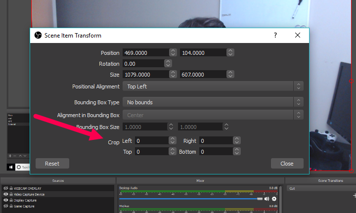 edit transform crop in obs